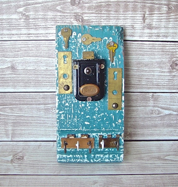 Antique Architectural Salvage Hardware Assemblage Functional Wall Art with Hooks, Rustic Industrial Vintage Wall Hanging Hook Organizer Blue