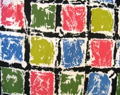 """Vintage 50s Everfast Fabrics Colorful """"Bricks"""" Cotton Fabric or Luncheon Cloth, 41"""" Sq."""