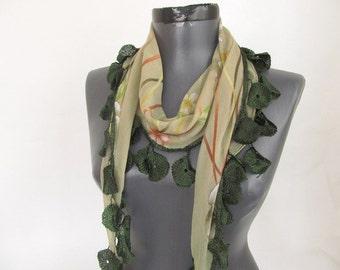 Cotton  scarf / Green scarf / Lace Scarf / Woman scarf / Soft Fashion scarf