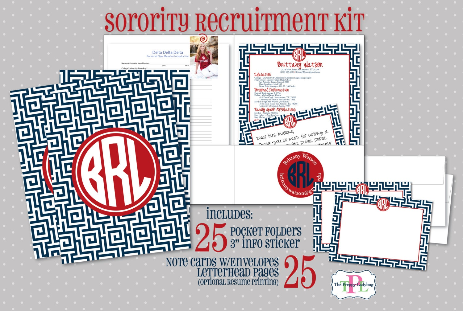 sorority recruitment recommendation kit set of 25 the