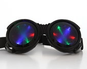 Big Round LED Goggles - Light Up Burning Man Steampunk Cyber Goth Cosplay