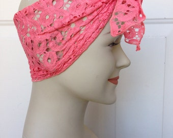 Lace Hair Scarf - Coral Floral