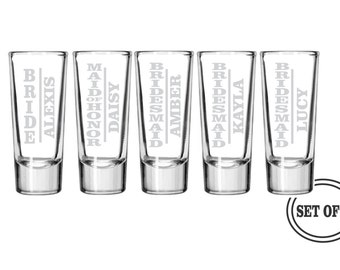5 PERSONALIZED SHOT GLASSES Favor Bridal Party Gifts Wedding Party Gift Engraved Shot Glasses Maid of Honor Bridesmaids Etched Shot Glass