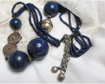 Lapis lazuli and antique silver necklace