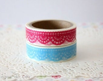 2 pcs - Lace Washi Tape - Blue and Pink - Lace Tape - Scrapbooking - Gift Wrap - Filofax Decor - 10 mt/each - Ready to Ship