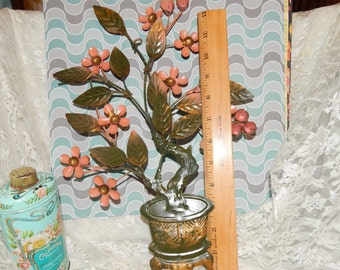 Metal Art Wall Hanging, Pink / Peach Flower Bush in Green and Gold Pot , Enamel Painted Metal Sculpture art