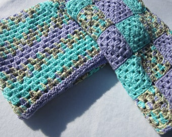 Baby Afghans Aqua and Lavender, Perfect for Twins Two Blankets, Two Crocheted Granny Square Infant Afghans