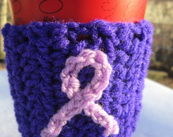 Coffee Cup Cozy, Relay for Life Cup Cozie, Purple Cancer Research Donation, Show Your Support for Cancer Research, All Proceeds Go to RFL,