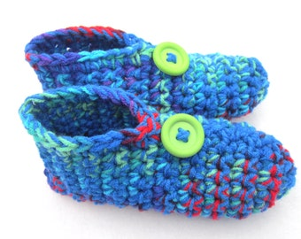 Crocheted Slippers in Blue, Green, Red and Purple - Size Medium, Perfect for Mother's Day