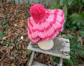Crocheted Child'sPink Striped Tam Hat with Pink Pom