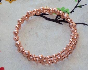 ROSE PEACH  Swarovski  Pearls - Memory Wire Bracelet