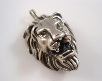 Large lion's head  Black Diamond 0.2 CT pendant solid sterling silver 925
