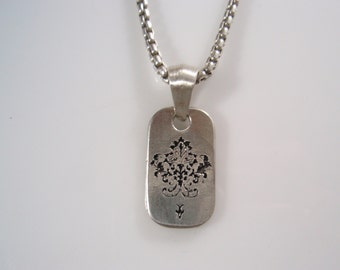 Ezi zino Victorian dog tag & box chain 3 mm necklace Pendant Handmade sterling silver 925
