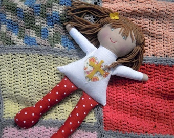 Rag Doll/Christian doll/Christian gifts/Natural cloth rag doll/soft toy/toddler gift