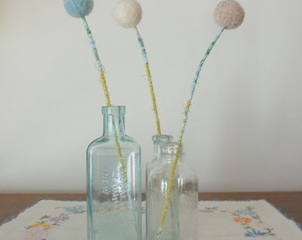 Felt flower bouquet.  Pastel neutral pom pom flowers.  Small floral arrangement. Beach colors.  Blue, white,sand.  Yarn flowers.  Felt balls