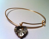 Rustic Crystal Heart Charm Bracelet, Gold Adjustable Bangle, Stacking Bangle, Gifts for Her, Rustic Bridal Jewelry