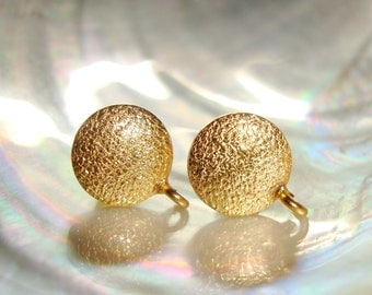18K Gold Sterling Silver Texture Round Ear Post with Ear Nuts, Open Loop, Earrings Findings, Terra Finds Design, - EP-0005