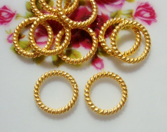 24K Vermeil Twisted wire Jump Ring Spacer, 10 pcs, 6 mm, 16 gauge