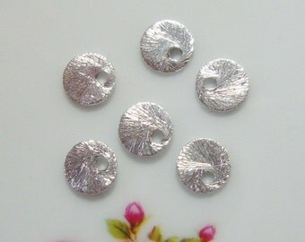Sterling Silver Brushed Round Disc, Spacers, 6mm, 20 pcs