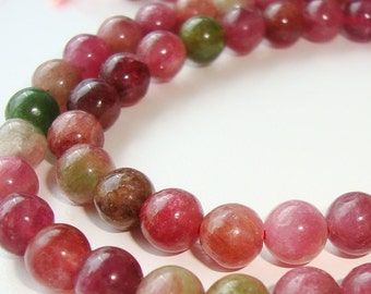"5mm, Full Strand, 16"" Inch, Natural Beautiful Watermelon Round Smooth Beads"