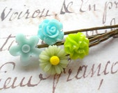 Turquoise Bobby Pin Summer Hair Accessories Green Bobby Pin Aqua Hair Pin Children Gifts Flower Girl Gift Pastel Hair Accessories Flowers