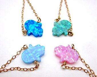 Hamsa Charm Necklace -- Opal Charm Necklace -- Colorful Charm Necklace -- Tiny Hand Necklace -- Hand Protection Necklace -- Glitter Necklace
