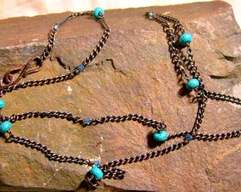 Copper necklace with Turquoise, layering chain necklace or bracelet