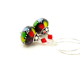 Colorful Rainbow Earrings, Lampwork Earrings, Glass Earrings, Beadwork Earrings, Drop Earrings, Dangle Earrings, Multi-Color Earrings