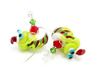 Frog Earrings, Christmas Earrings, Holiday Earrings, Frog Jewelry, Peppermint Earrings, Lampwork Earrings, Glass Earrings, Santa Earrings