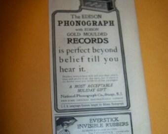 Vintage circa 1904 ad Edison Phonograph 2 1/2 x 5
