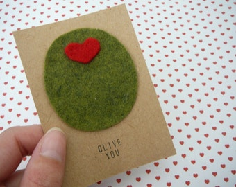 Olive You - Mini Valentines Day Card - Valentine