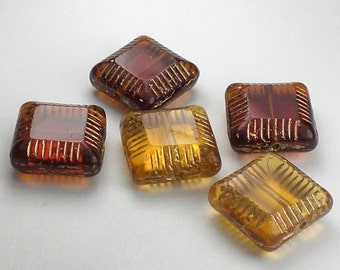 Amber Carved Square Beads Picasso Czech Glass Beads 5 Pcs. CS-028