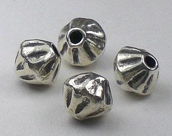 7mm Karen Hill Tribe Bead Fine Silver Bicone Bead 4 pcs. HT-178