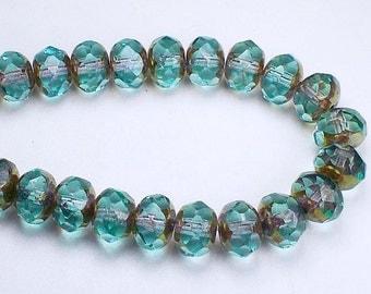 Czech Glass Beads 6x8mm Aqua Blue with Picasso Faceted Rondelles 10 Pcs. RON8-597
