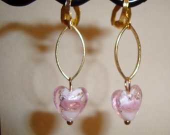 Pink Glass Hearts, Gold Ovals, Clip Earrings, Gold clip ons, Modern Designed Clip On earrings, Handmade, Fashionable Earrings