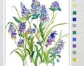 Lavender Impression, Watercolor Fine Art Print, 8x10, 11x14, Watercolor Lavender, Watercolor Flowers