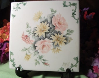 grouping of 5 floral HANPAINTED CERAMIC TILE