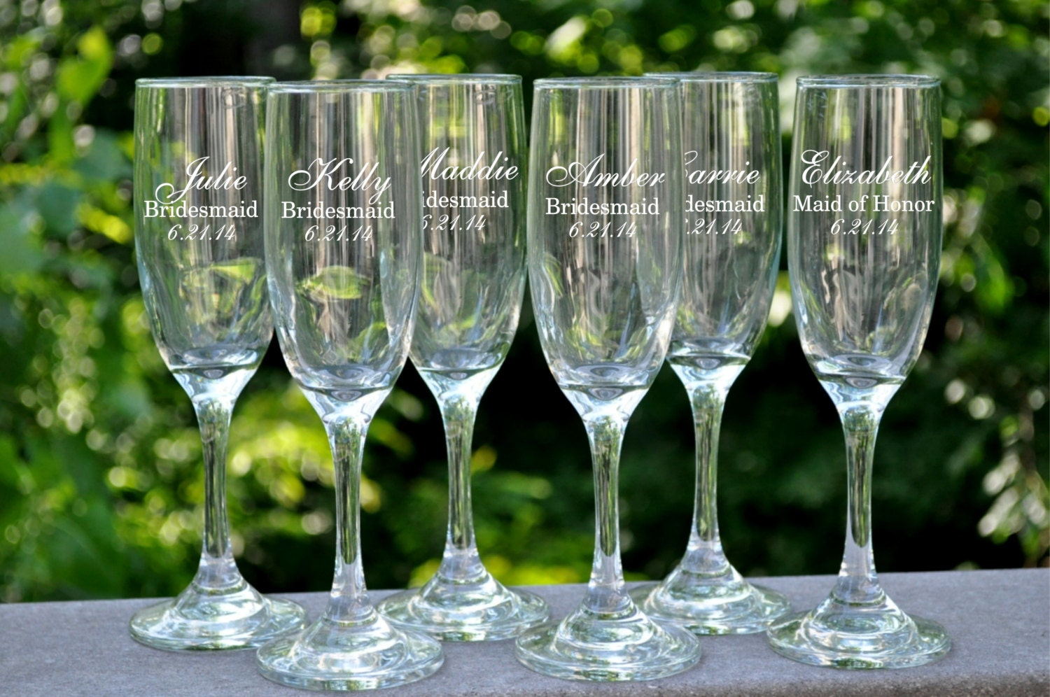 personalized champagne flutes champagne glasses by. Black Bedroom Furniture Sets. Home Design Ideas
