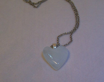 Necklace, Glass Heart, White Heart Necklace, Heart Pendant, Double Heart Pendant