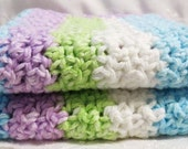 Handmade Cotton Wash Cloth Set of Two Crocheted Spring Stripes