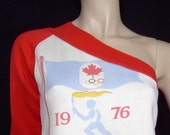 Original 1970s sexy 1976 Montreal Olympics jersey top - Small - 1 shoulder red white long sleeve t shirt - Canada maple leaf
