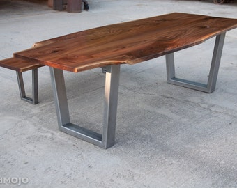 Live Edge Walnut Dining Table with Steel legs and Optional Bench - Reclaimed Hardwood - metal wood - Handmade in the USA - Custom