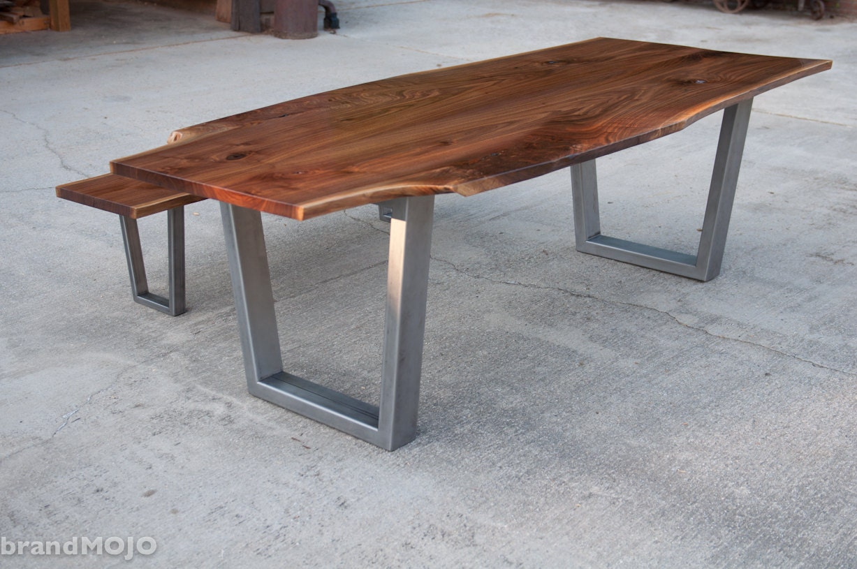 Live edge walnut dining table with steel legs and optional for Steel dining table legs