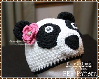Panda Hat Crochet Pattern, 8 Sizes from Newborn to Adult, AMANDA and PAUL PANDA - pdf 105