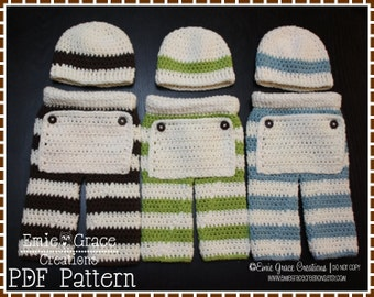 Crochet Pants and Beanie Patterns, Rear Flap Baby Longies, AIDEN - pdf 718, 312