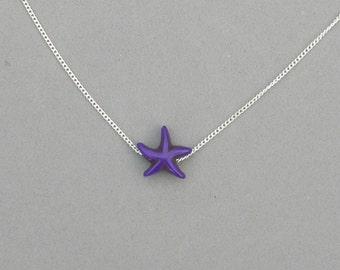 Dyed Howlite Starfish Necklace - 5 Colors