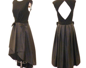 1980s 1950s Party Dress, 50s Dress, Black Silk Open Back Formal Evening Dress Morton Myles for Bonwit Teller