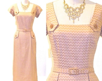 50s Dress, Vintage 1950s Wiggle Dress, Deadstock Adele Simpson Damask Dress & Jacket, Medium