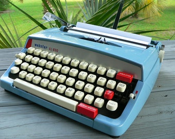 1970s WEBSTER XL-800 manual portable vintage typewriter Repeat Spacer Red White Blue