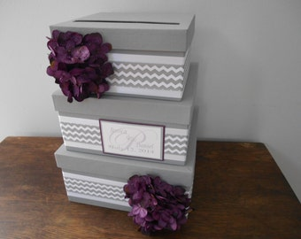 3 tiered Modern Wedding Card Box with personalized tag You Customize Colors and Flowers Gray Chevron and Purple Hydrangeas